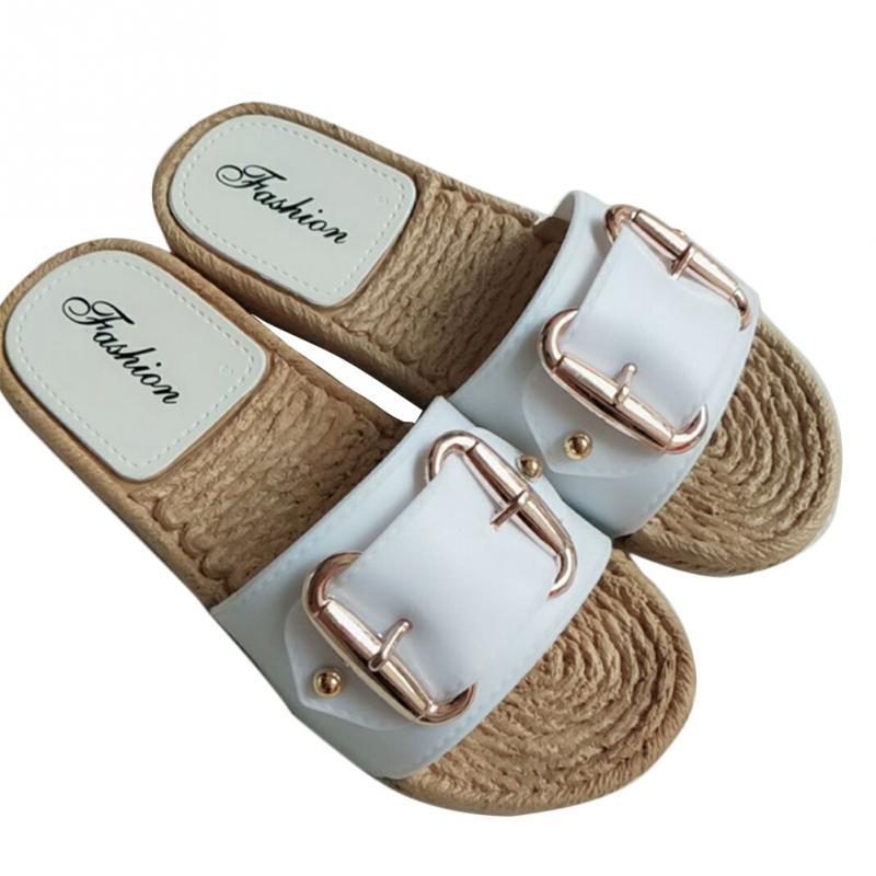 Fashion Flax Buckle Home Slippers Women Indoor Shoes Ladies Outdoor Mules Slippers Summer Beach Sandals Slides Zapatos Mujer 3