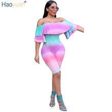 Haoyuan рябить Playsuit принтом тай-дай принтом боди с открытыми плечами Комбинезоны Sexy спинки Клубные Лето Песочники женские комбинезон