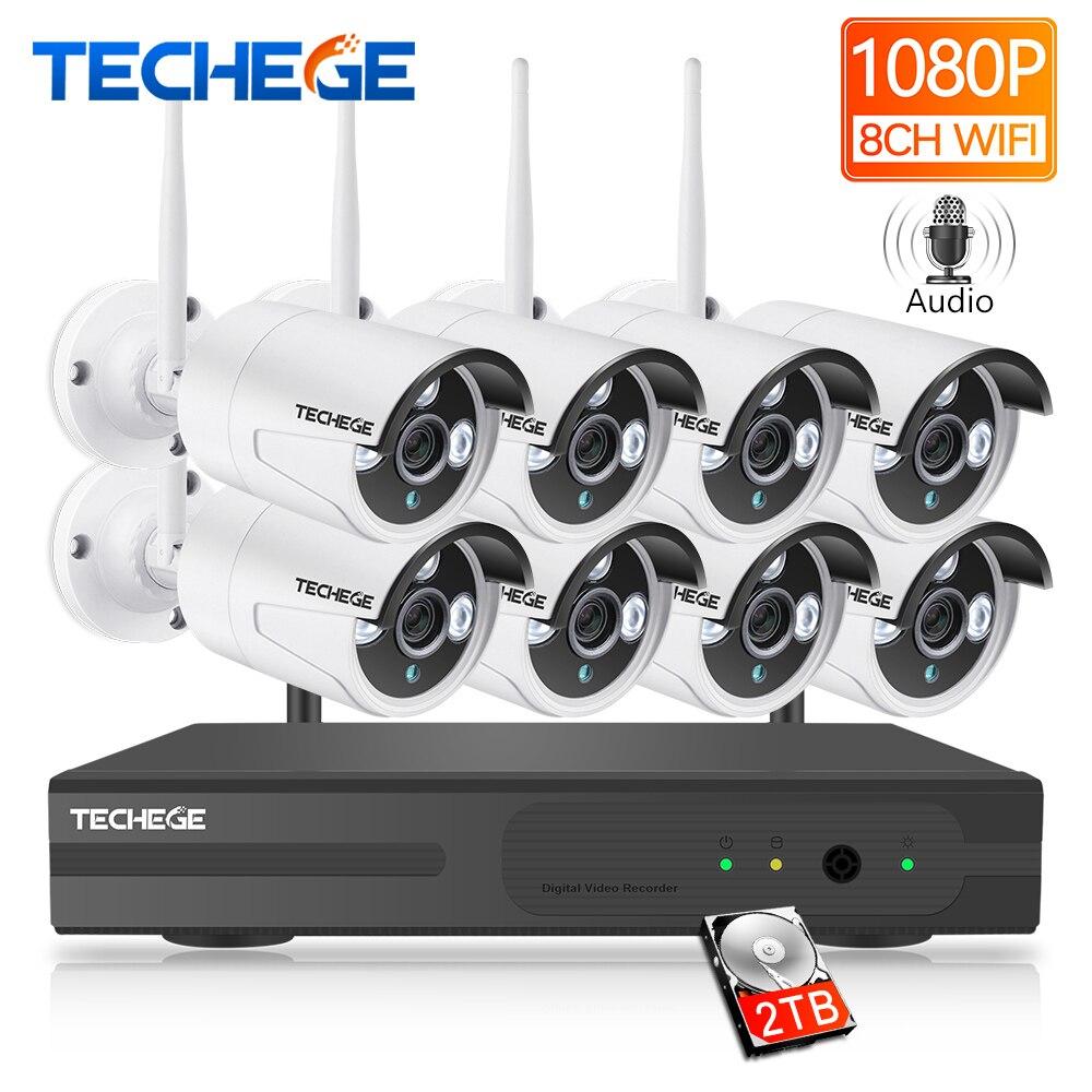 Techege 8CH 1080P NVR Kit De Vigilância De Áudio Plug and Play 8pcs 2MP HD de Visão Noturna Sem Fio À Prova D' Água de Segurança sistema de CFTV