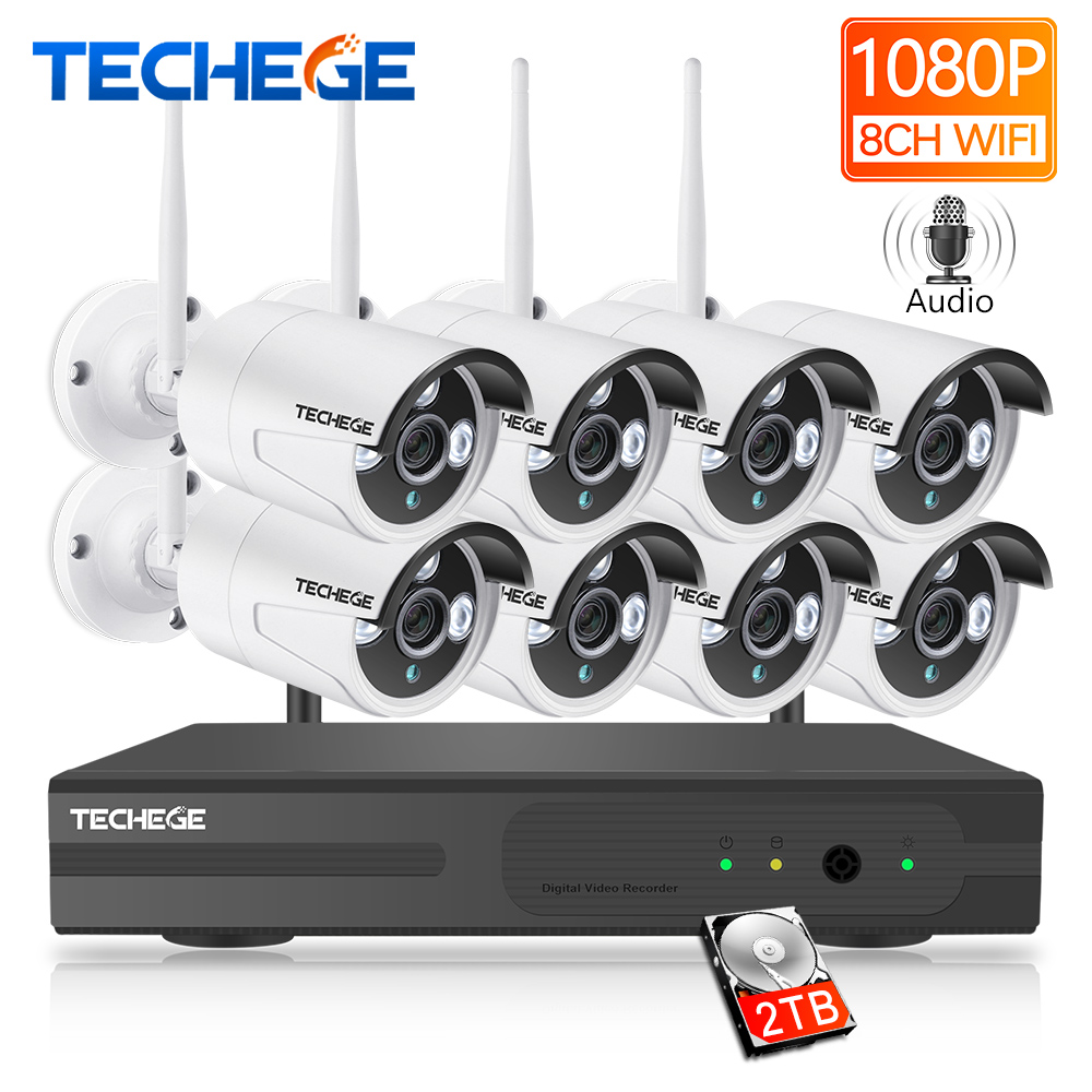 Techege 8CH 1080 P NVR аудио комплект видеонаблюдения Plug and Play 8 шт. 2MP HD беспроводной водонепроницаемый Ночное Видение безопасности CCTV системы