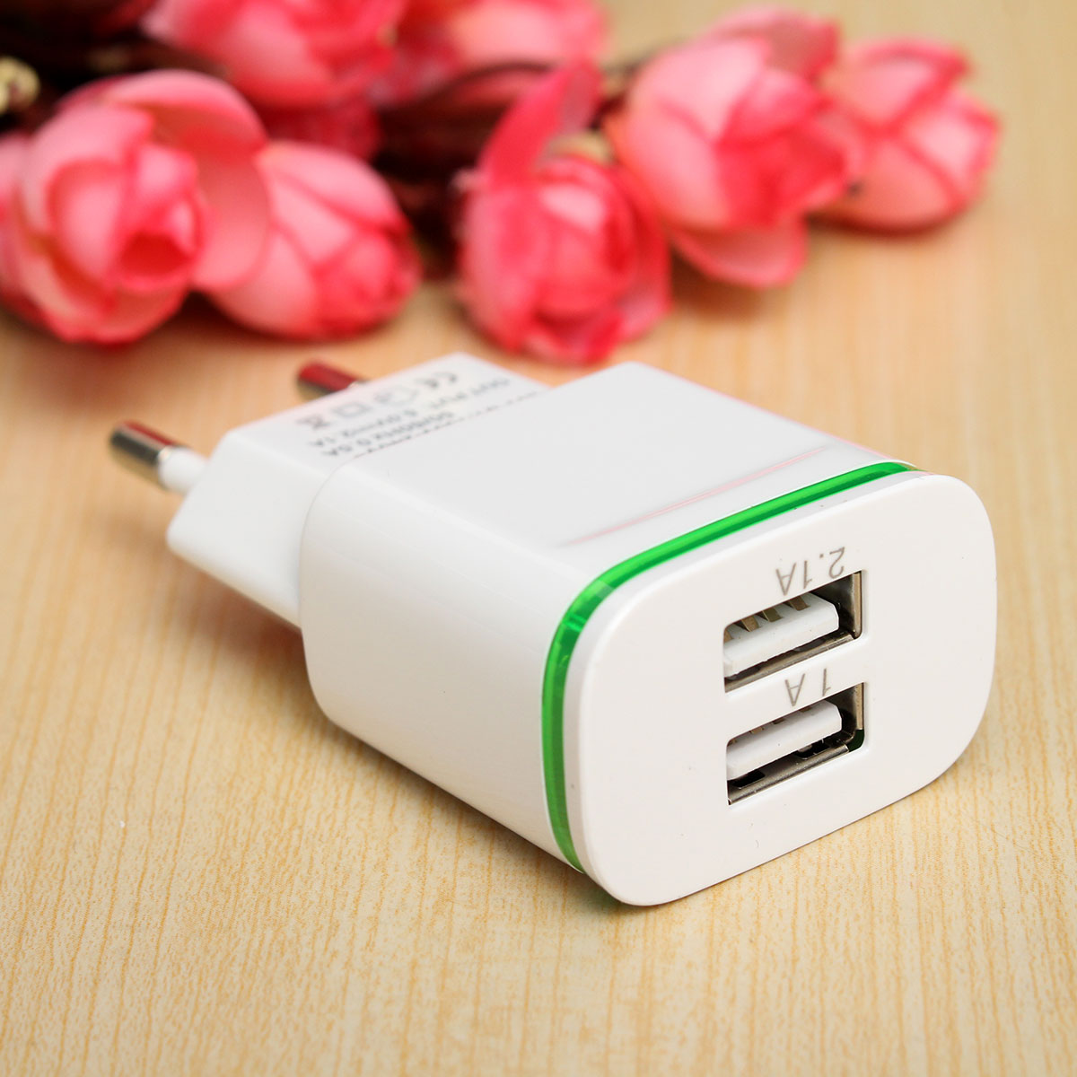 LED Light 2 Ports Dual USB 5V 2A EU US PLug Universal Mobile Phone Fast Charging Power  Adapter For Samsung For Iphone 5s 6