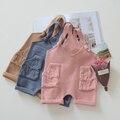 2017 весной и осенью детские комбинезоны карманные младенцы детские моды милые шерсть брюки мальчиков и девочек прекрасные комбинезоны