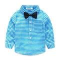 2016 baby boy одежда осень с длинными рукавами сетки галстук джентльмен блузка детские рубашки бесплатная доставка