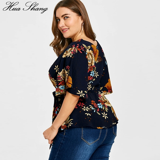 Womens Plus Size Tops And Blouses Summer V Neck Flare Short Sleeve Floral Print Boho Tunic Chiffon Blouse 4XL 5XL Women Shirts 2