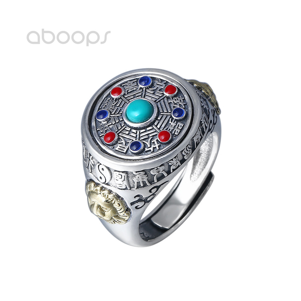 Colorful 925 Sterling Silver Chinese Taoism Bagua Spinner Ring for Men Women Adjustable Free Shipping