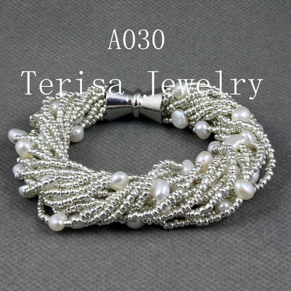 Unique Pearls jewellery Store 7-8MM White Baroque Genuine Freshwater Pearl Bracelet 24 rows Magnet Clasp Perfect Women GiftUnique Pearls jewellery Store 7-8MM White Baroque Genuine Freshwater Pearl Bracelet 24 rows Magnet Clasp Perfect Women Gift