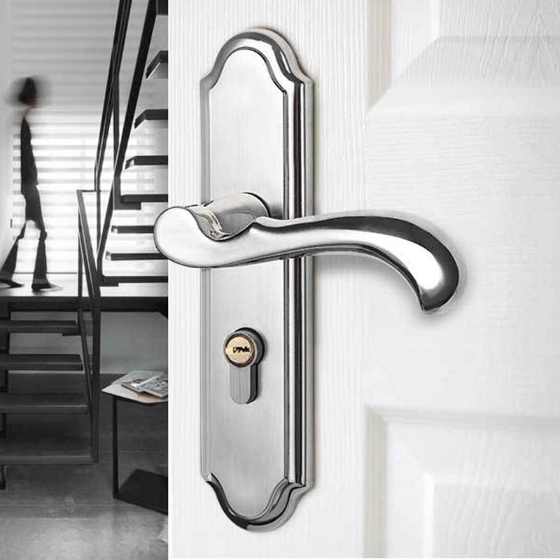 Bedroom Stainless Steel Mechanical Lock Continental Indoor Minimalist interior door handle lock Security Cylinder Mute Door LockBedroom Stainless Steel Mechanical Lock Continental Indoor Minimalist interior door handle lock Security Cylinder Mute Door Lock