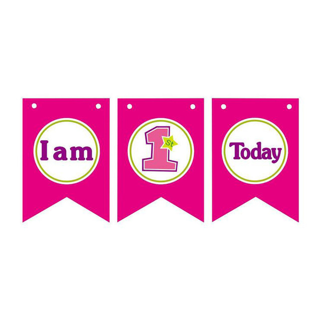i am one high chair banner baby girl first birthday party bunting