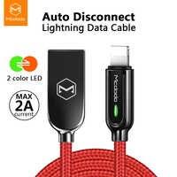 Mcdodo USB chargeur câble LED 2A pour iPhone X XR XS Max 8 7 6s Plus pour cordon de foudre données de charge rapide câble de déconnexion automatique