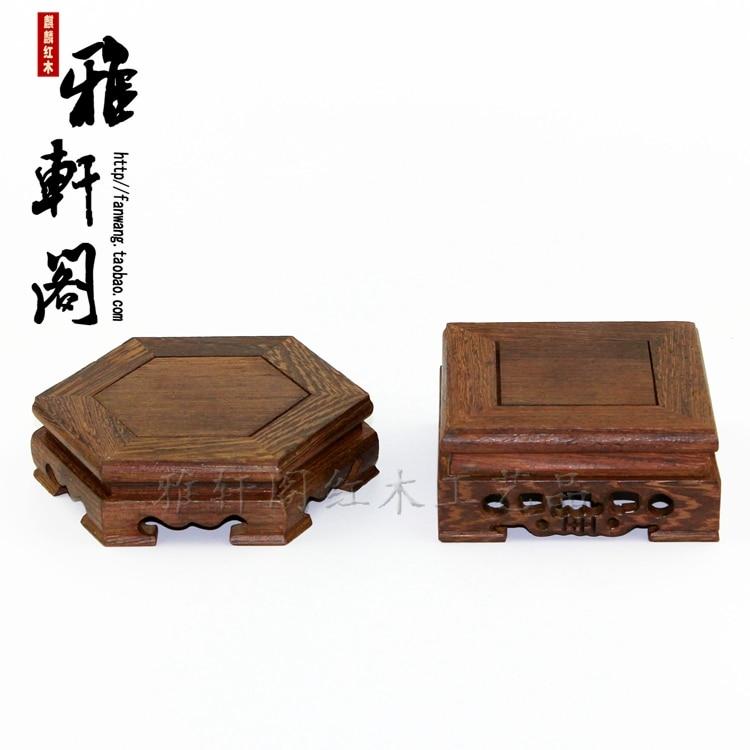 Sechseckige quadratische Tasse Pad Teekanne Basis Mahagoni Holz Dekoration Tabletts Wenge
