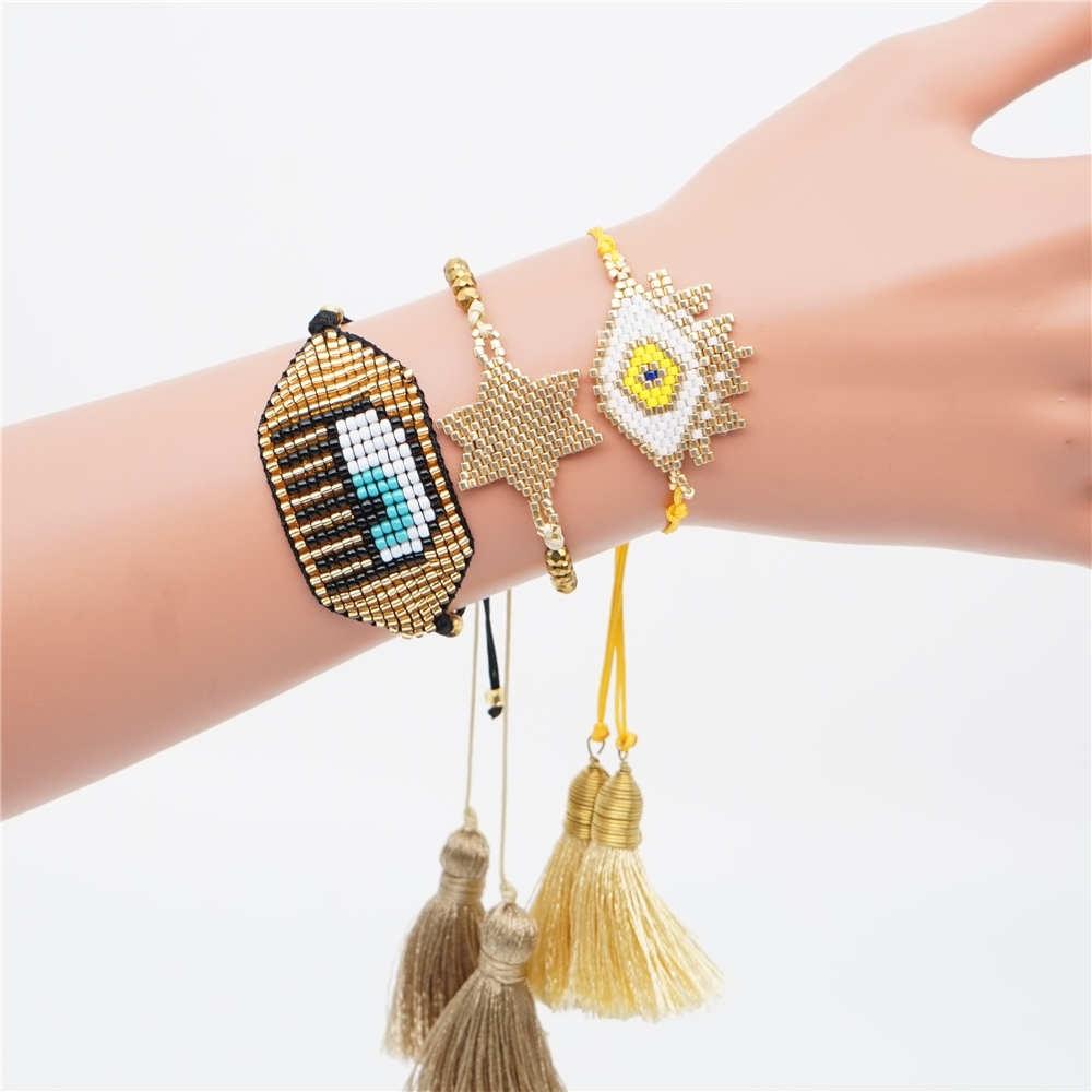 Go2boho Lucky Evil Eye Bracelet Jewelry Perles MIYUKI Bracelet For Women Pulseras Tassel Handmade Insta Fashion 2019 in Charm Bracelets from Jewelry Accessories