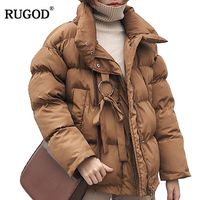 RUGOD Winter Jacket women Plus Size Womens Parkas Thicken Outerwear solid Mandarin Collar Coats Short Female Cotton padded tops