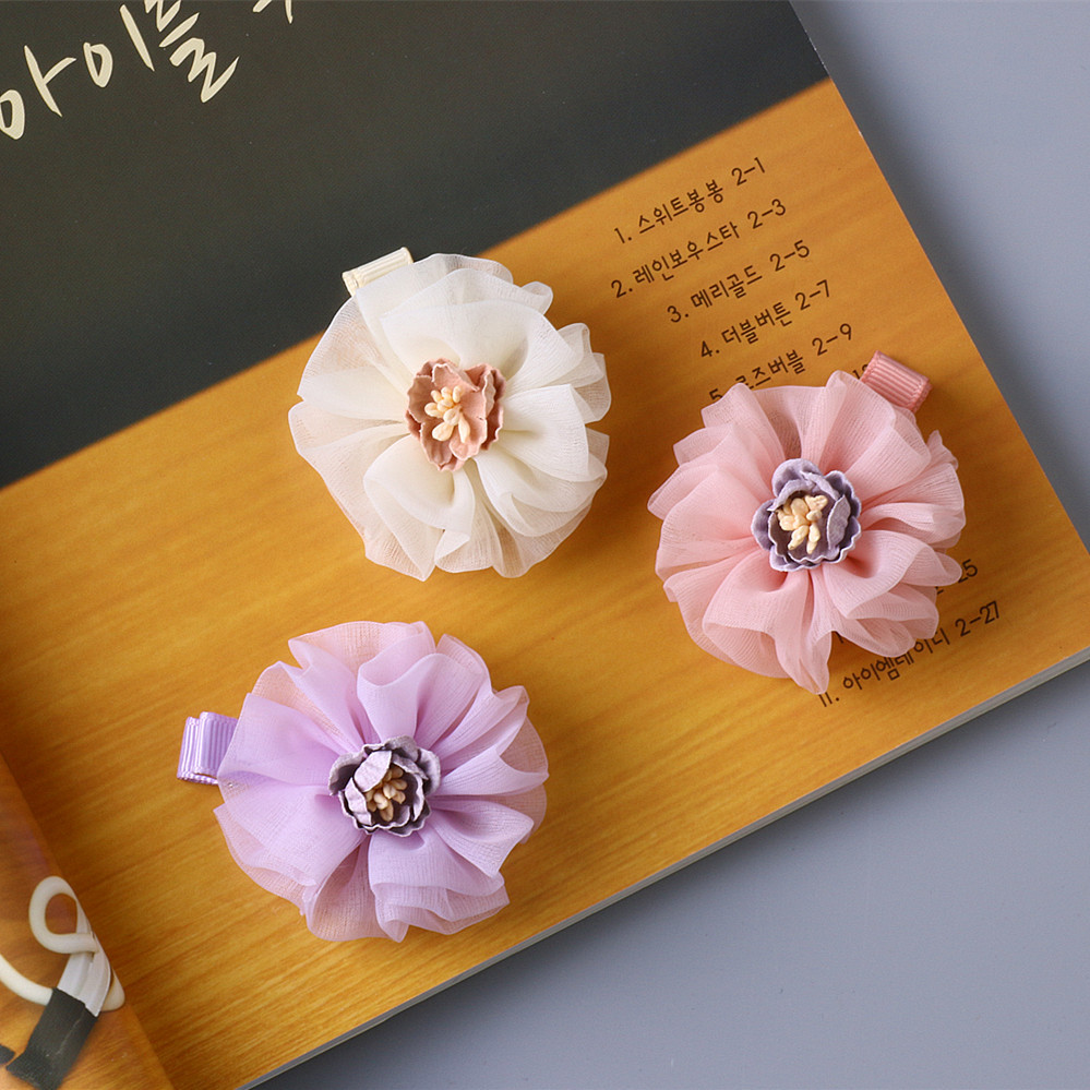 20 Pcslot Easter Hair Bow Chiffon Flower Hair Clip Boutique