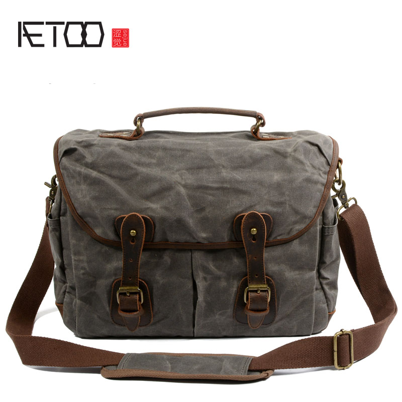 AETOO Oil wax canvas men's portable Messenger men's official computer bag Europe and the United States retro shoulder bag men's велосипед head marion 3g 20 2016