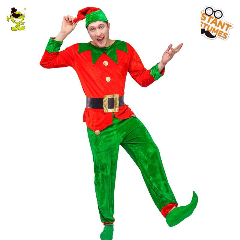 448e3566f2 Elf Traje de Halloween dos homens adultos Roupas Terno Vermelho E Verde Elf  Cosplay Fantasia Trajes Elf Espalhar Alegria Para O Natal férias em  Fantasias ...