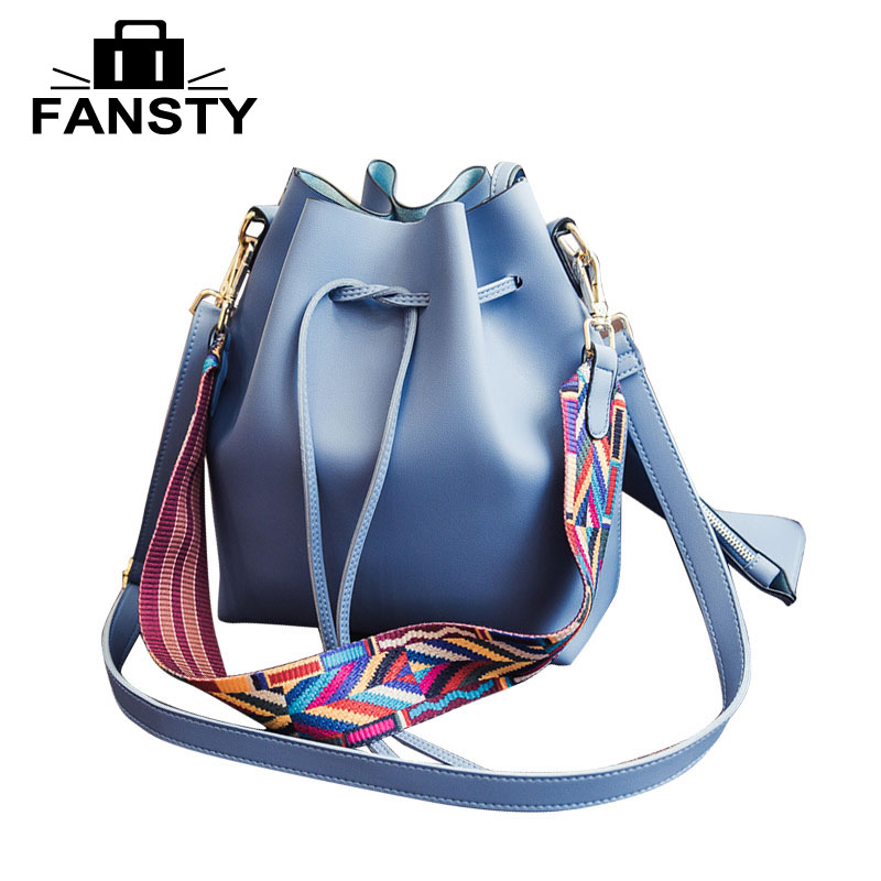 Casual Women Pannelled Bucket Shoulder Bag Fashion Ladies Strings Two Set Composite Bags Female Small Cross Body Bags With Purse squirrel fashion bucket canvas girls cross body shoulder bag vogue pattern brand casual versatile drawstring women handbags