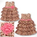 Algodón Del grano Del Leopardo al por menor impreso girls vestidos de verano de verano Bebé ropa de los niños Sin Mangas del vestido de la muchacha Vestido HB2135