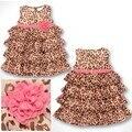 Retail cotton Leopard grain printed girls dress girl's dresses summer Sundresses Baby children clothes Sleeveless Dress HB2135