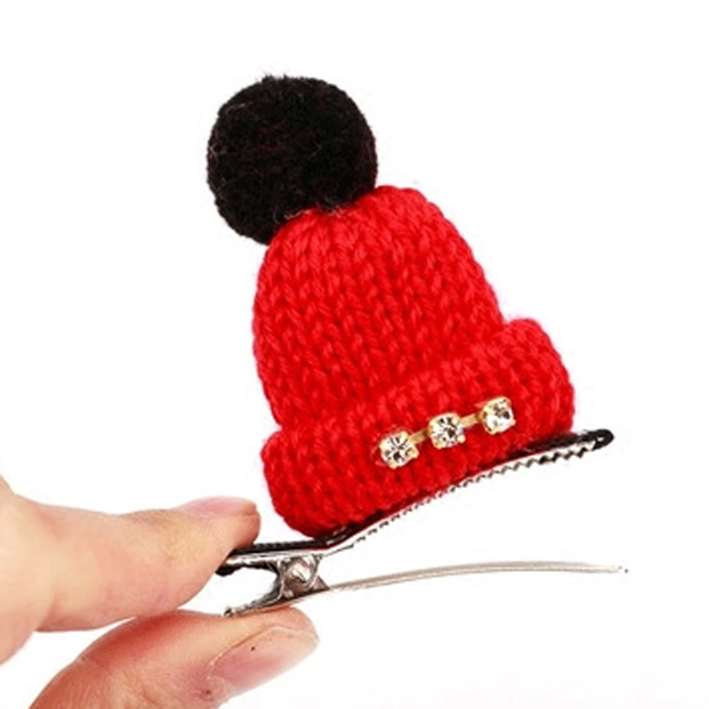 2017 Cute Headwear Wool Hat Hair Clips With Crystal Cap Hairpins Girls Hair Accessories Women Barrettes Children Gift