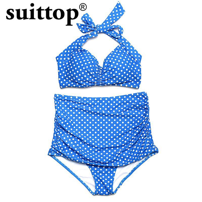 suittop New Bikini 2017 Summer Sexy Push Up Women Swimwear High Waist Bottom Bathing Suit Dot Print Top Bikini Set Plus Size цены онлайн