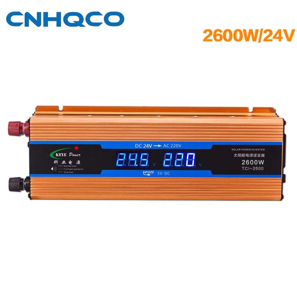Solar Power Inverter 2600W Portable Voltage Converter DC 24V to AC 220V Blue Volts Display Modified Sine Wave AE185