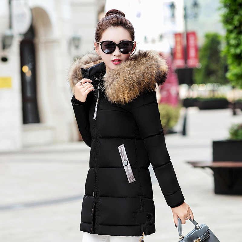 חורף מעיל נשים 2019 נשי ארוך מעיל חורף מעיל נשים מזויף פרווה צווארון חם אישה Parka הלבשה עליונה החורף למטה מעיל מעיל