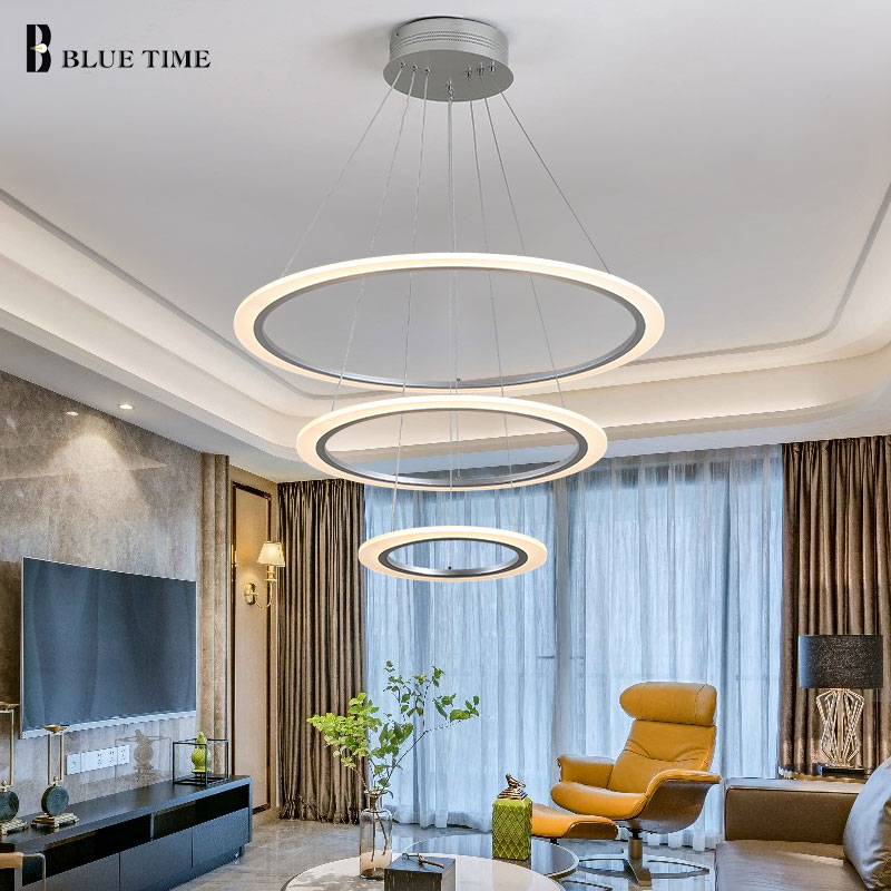 New Arrival Led White Chandelier For Living Room Bedroom AC90-260V acrylic 40CM 60CM 80CM rings Modern Chandeliers for homelight