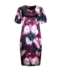 2018 Fashion Brand Women Dress Plus Size 6XL Vestidos O Neck Print Flower Straight Casual Summer Knee Length Oversized Dress