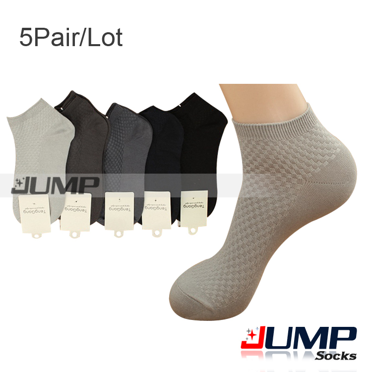 Thick bamboo Fibre Socks for men Black White Short Cotton+ Bamboo Ankle Socks 5 Pairs/lot