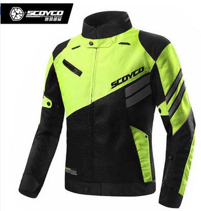2016 new Scoyco Spring and summer Reflective fluorescent green breathable font b jacket b font motorcycle