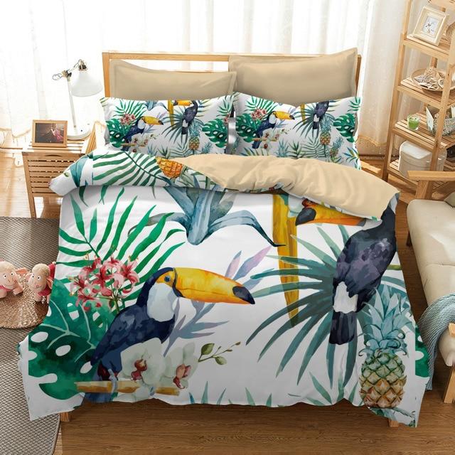 ananas et oiseau imprimer ensemble de literie doubles singe reine california king size housse de couette