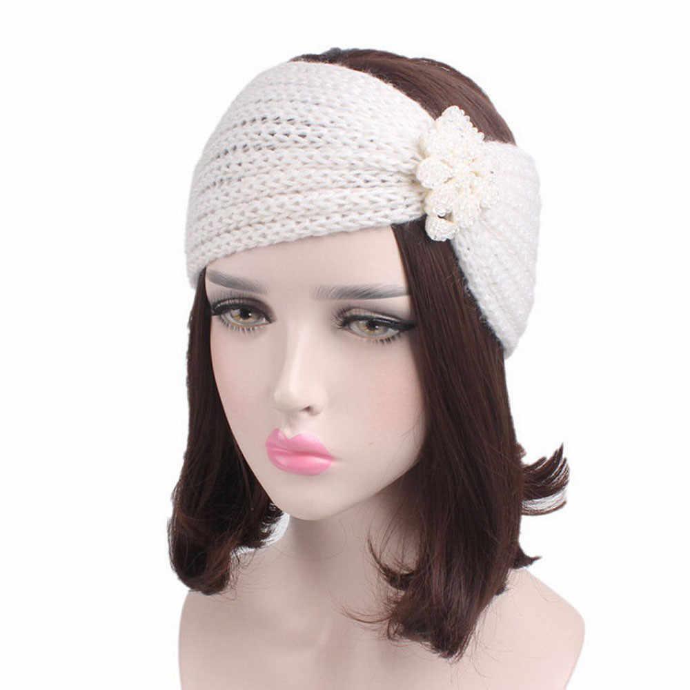 ฤดูหนาวอุ่นผู้หญิงแฟชั่น Elastic ถัก Headband Head Wrap Hairband สาว Elegant อุปกรณ์เสริม # T