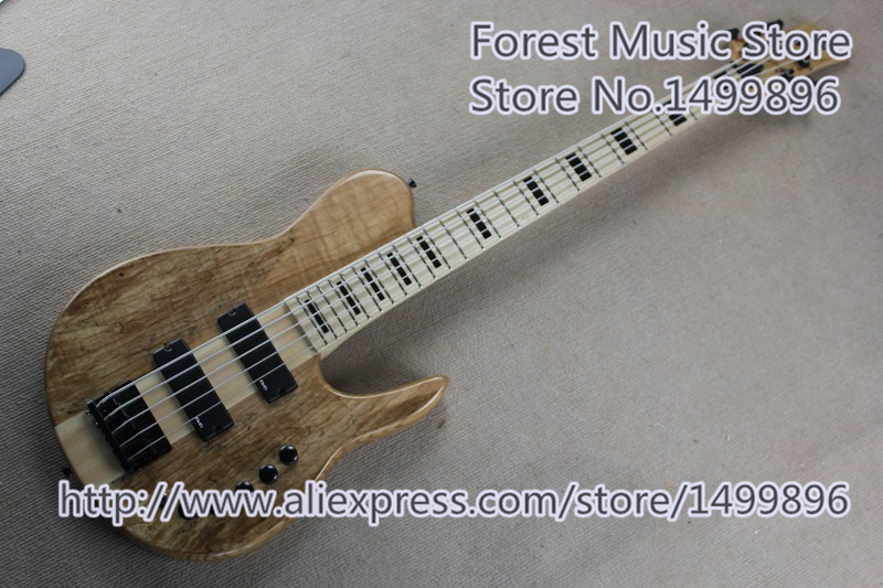 New Arrival Natural Wood Finish Foderal 5 String Electric Bass Guitars China Neck Through Body For Sale цена