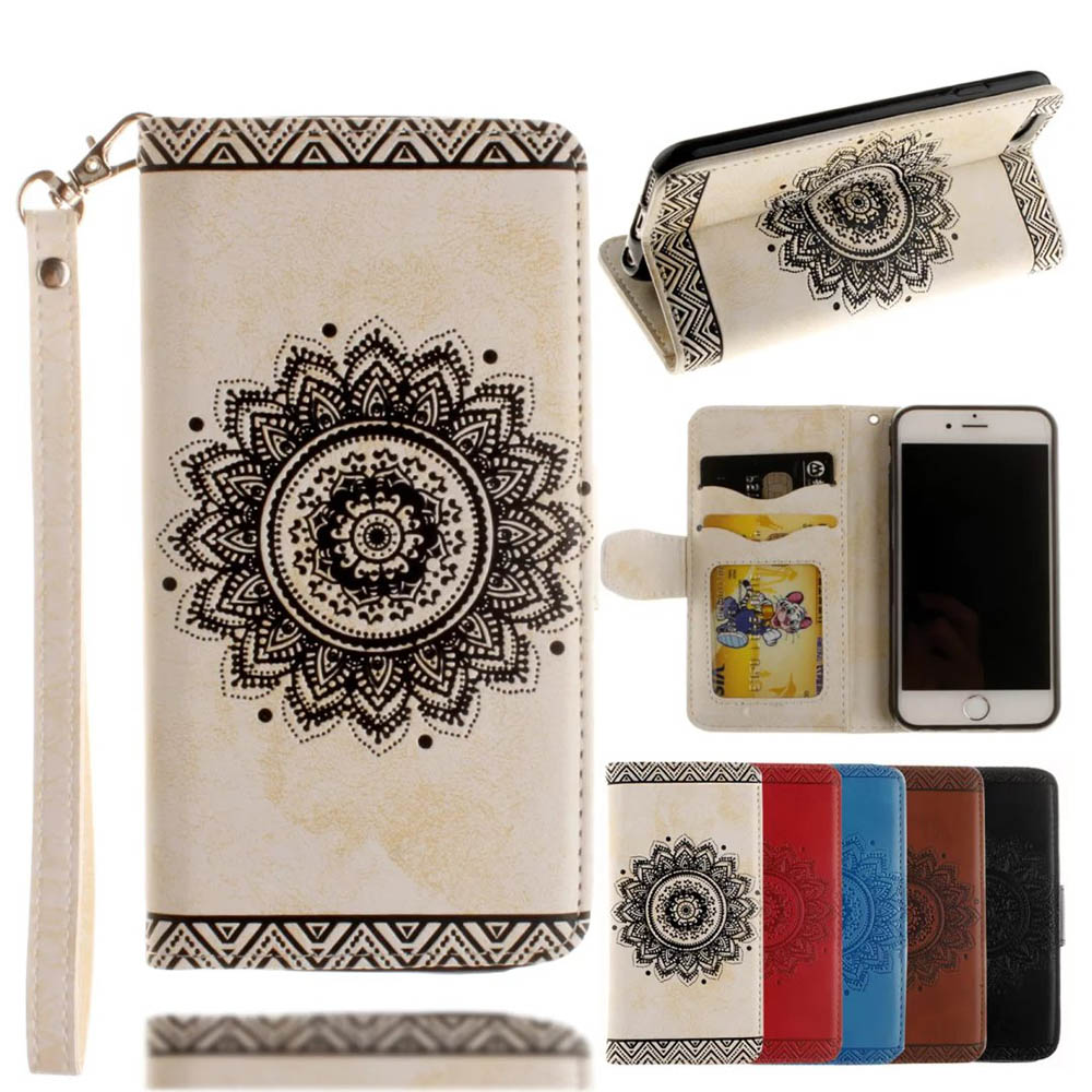 For iPhone X Mandala Floral PU Leather Cover for Iphone 5 5s 6 6s 7 8 Plus Wallet Case With Card Pocket Photo Frame Flip Case