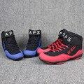 VeriSign genuino wrestling zapatos rojo y negro zapatos de entrenamiento de lucha manchas de boxeo botas de tendón en el extremo