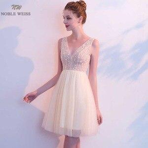 Image 4 - 高貴なワイスミニウェディングドレスセクシーなvネックビーズチュールジュニア学校ウェディングドレスカスタムメイド特別な日のドレス