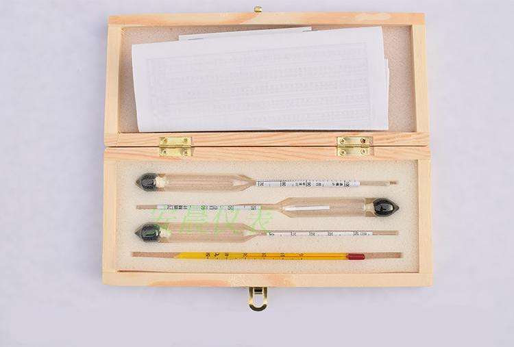 Vodka Whiskey Alcohol Wine Hydrometer Meter In Wooden Box Alcoholmeter Concentration Instrument Meter  (0-40%, 30-70%, 70-100%)