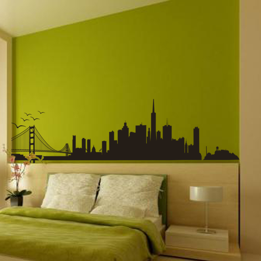 San Francisco City Skyline Silhouette Wall Art Golden Gate Bridge ...
