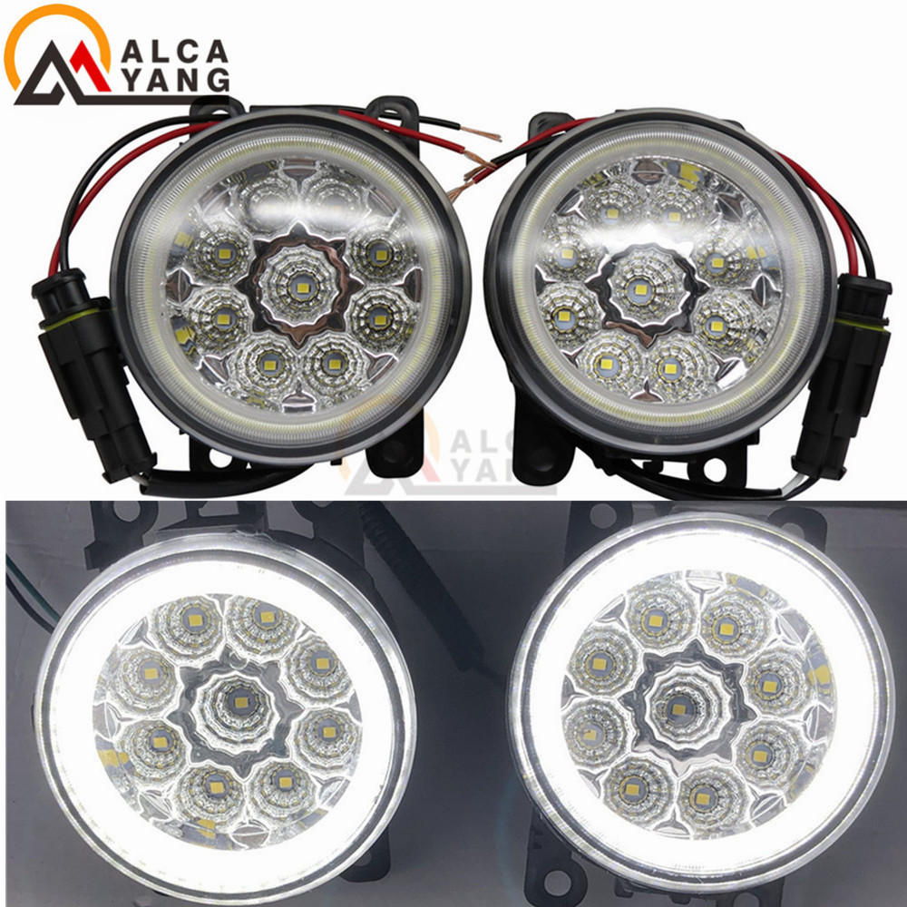 Car-Styling 90mm Round LED Fog Lamps DRL For Dacia Logan Duster Sandero 2004-2015 Angel Eye Front Bumper Fog Lights 2Pcs 2pcs car styling round front bumper led fog lights high brightness drl day driving bulb fog lamps for toyota ractis scp10