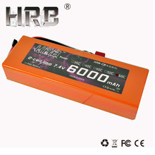 HRB RC Car Lipo Battery 2S 7.4V 6000mah 60C 120C Orange Hard Case For Airplane XT60 Traxxas Car RC Truck(China)