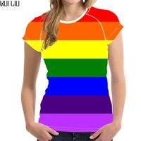 Customized Rainbow Colorful Women T Shirt Summer Cute Kawaii Ladies T shirt,Fashion Short Womens Tops K pop t Shirts Femme