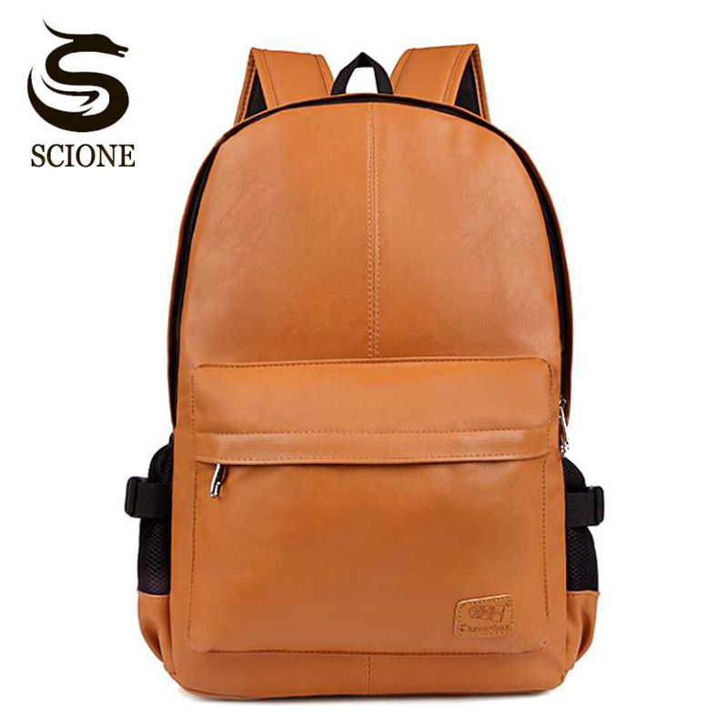 Hot Top PU Leather Waterproof Travel Laptop Backpack Bag For College Simple Design Men Casual Daypacks Mochila Male School Bag image