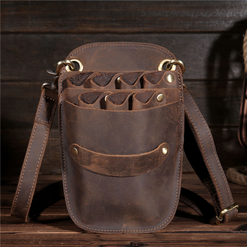 YISHEN Cow Leather Barber Hair Scissor Bag Hairdressing Holster Pouch Holder Case Bag With Waist Shoulder Belt Hair Tool JDB467