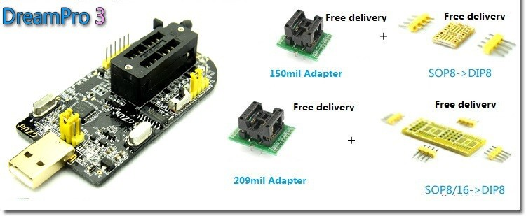 DreamPro3-DreamPro2-Offline-copy-motherboard-BIOS-SPI-FLASH-25-USB-programmer-writer-Adapter-150mil-and-209mil