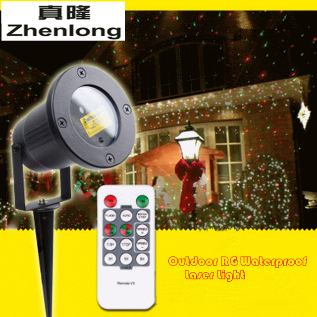Outdoor Waterproof Lawn Laser Light Dynamic Static Remote Control Red Green Stars Christmas Courtyard Garden Landscape Lights