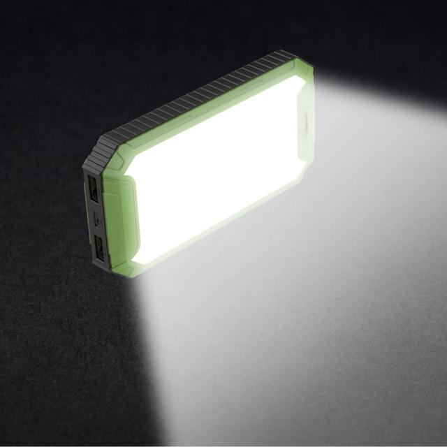 DCAE Путешествия Солнечной Энергии Банк 10000 мАч Dual USB LED Свет Кемпинг Солнечное Зарядное Устройство powerbank для Мобильного телефона