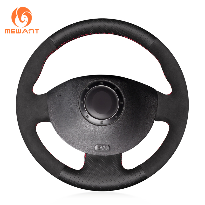 MEWANT Black Genuine Leather Black Suede Steering Wheel Cover for Renault Megane 2 2003-2008 Kangoo 2008-2012 Scenic 2 2003-2009 комплект дефлекторов vinguru накладные скотч для renault scenic ii 2003 2009 минивэн 4 шт