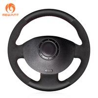MEWANT Black Genuine Leather Black Suede Steering Wheel Cover for Renault Megane 2 2003 2008 Kangoo 2008 2012 Scenic 2 2003 2009