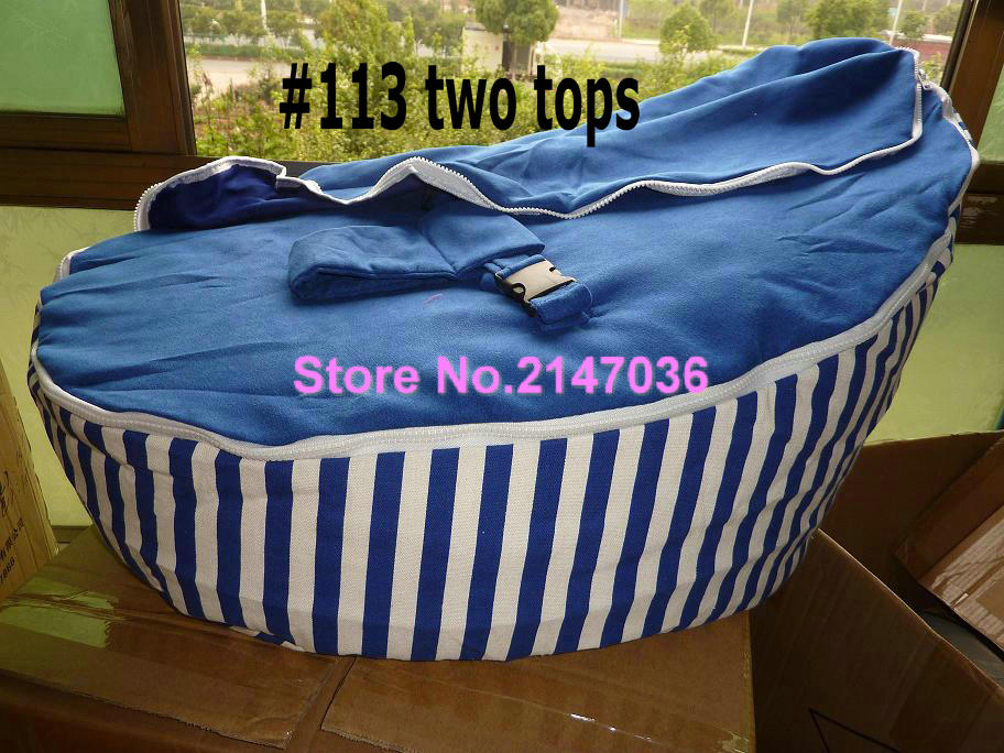 Blue stripes cotton fabric Baby bean bag sleeping chair, Promotion cheap price kids beanbag sofa beds