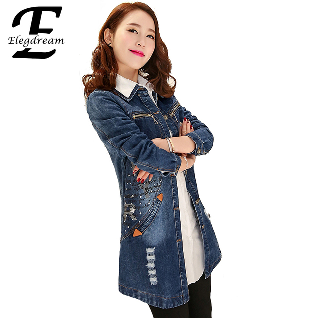 Elegdream 2016 Spring Fall Fashion Ripped Denim Coat Women Medium-Long Korean Casual Single Breasted Thin Hole Denim Trench Tops